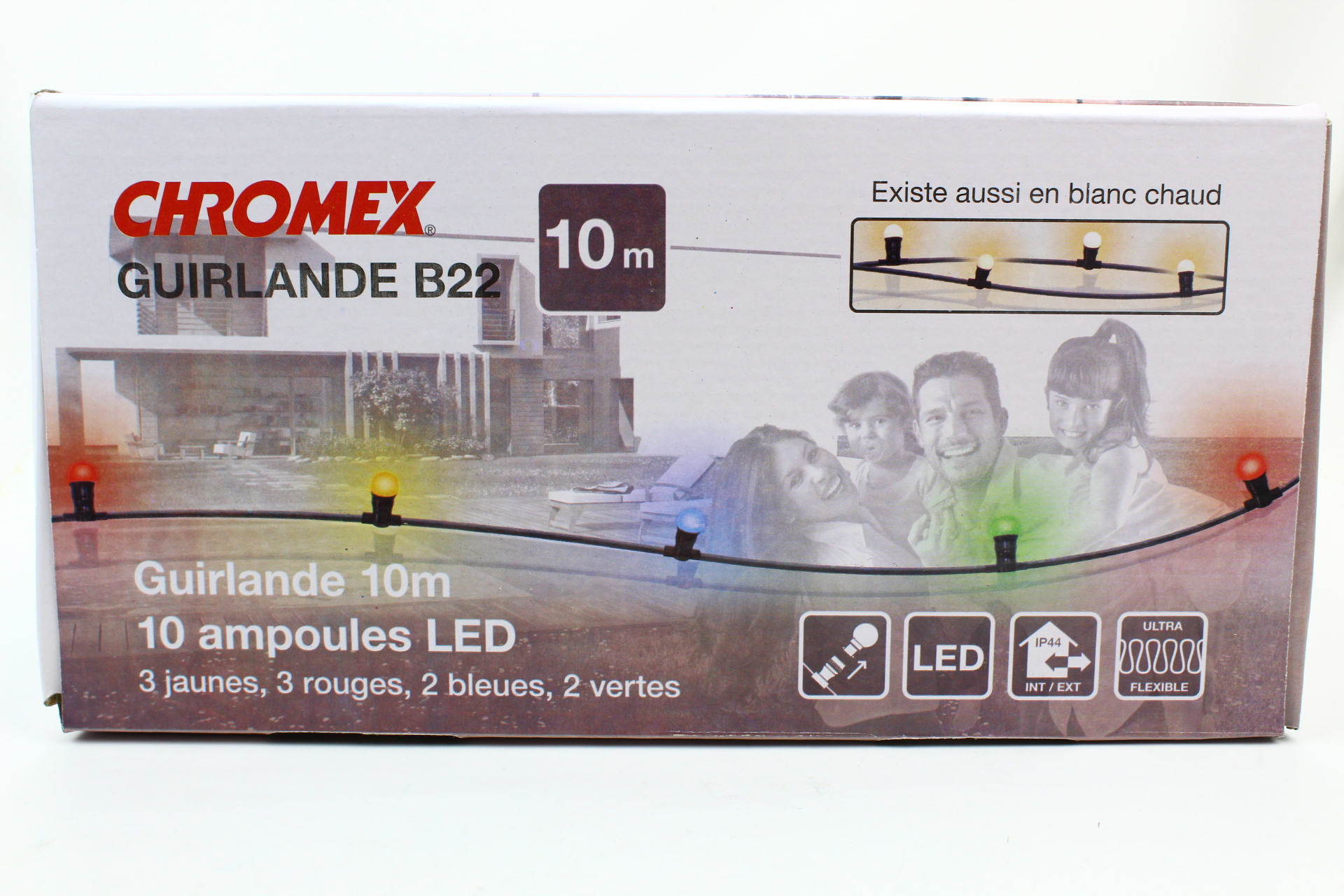 livraison gratuite guirlande guinguette 10 douilles b22 avec led fil vert longueur 10m. Black Bedroom Furniture Sets. Home Design Ideas