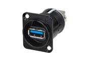 NAUSB3-B Neutrik embase type D USB-A 3.0 vers USB-B 3.0 réversible